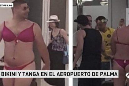 Este turista en ropa interior femenina asquea a los pasajeros del aeropuerto de Palma de Mallorca