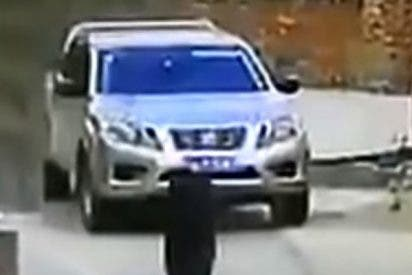 ¡Se salva de milagro! Dos neumáticos de camión destrozan un coche con el conductor dentro