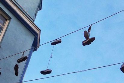 Este hombre salta hacia el cableado público para evitar ser atrapado por la policía en México