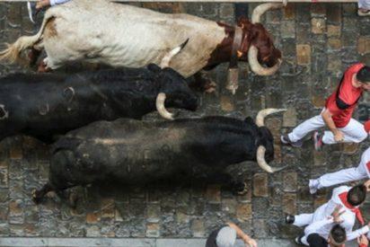 Un toro cornea a un espectador que grababa con una tableta este encierro en Navarra