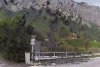 Captan esta espectacular y brusca 'erupción' de barro y rocas que atemorizó a un pueblo de Suiza