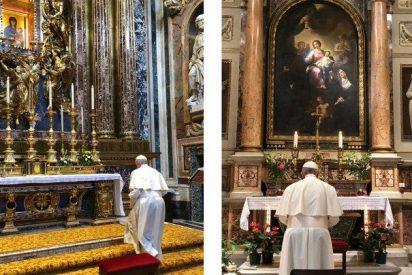 El Papa ora en Santa María La Mayor y en la Basílica de San Agustín