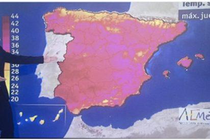 Cachondeo de colores en las redes sociales con este mapa del tiempo de TVE