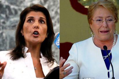 """Nikki Haley pide a Michelle Bachelet que alce la voz y evite el """"fracaso"""" de la ONU ante la tiranía de Venezuela"""