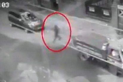 El escalofriante momento en que un peatón 'fantasma' cruza la carretera entre coches