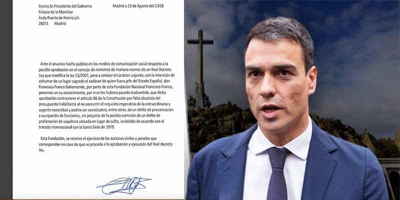 La Fundación Franco manda una carta a Pedro Sánchez anunciándole que le denunciará