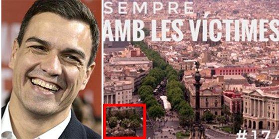 El patético truquito de Photoshop de Pedro Sánchez en el que se avergüenza de la bandera de España al dirigirse a los catalanes