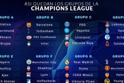 Sorteo de la Champions League 2018: Real Madrid y Atleti premiados, y 'cocos' para Barça y Valencia