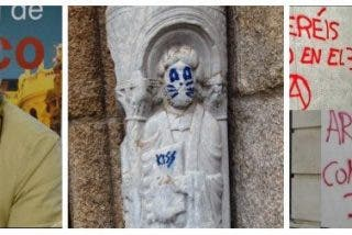 Tertsch masacra a los que montan un 'sin Dios' al imbécil de la pintada de Santiago, pero jaleaban la quema de iglesias