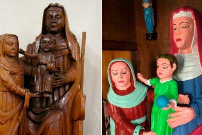 """Tres tallas de madera del siglo XV resturadas a lo """"eccehomo"""" en la ermita de Rañadoiro"""