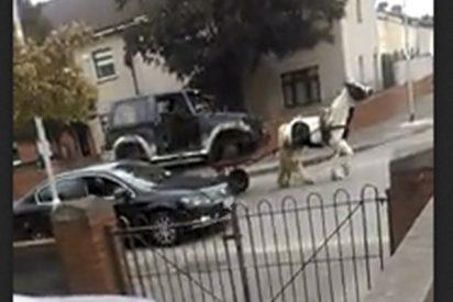 ¡Tecnología punta!: Un caballo transporta un coche sin ruedas encima y el conductor al volante