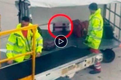 Asi recoge este bestia el equipaje de bodega de un avión de Ryanair en Manchester