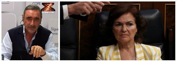 "Carlos Herrera manda a la hoguera a la dictadora Carmen Calvo: ""Solo le falta la peluca amarilla de Trump"""