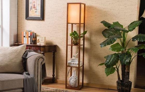"""""""Lámpara de pie estantería de madera"""