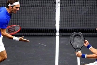 Así fue el blooper de Novak Djokovic en su partido de dobles junto a Roger Federer en la Laver Cup