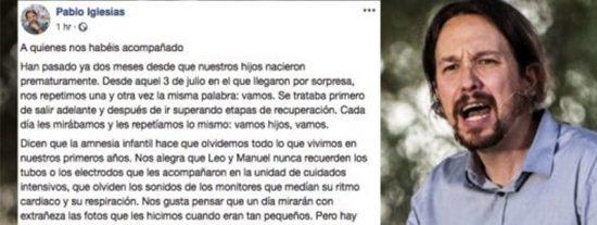 Pablo Iglesias da las gracias a la sanidad madrileña, gestionada por el PP desde hace 23 años
