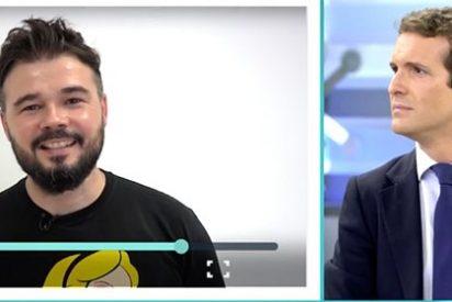 El bocazas Rufián se cuela en Telecinco para intentar trolear a Pablo Casado y se lleva un imponente revés