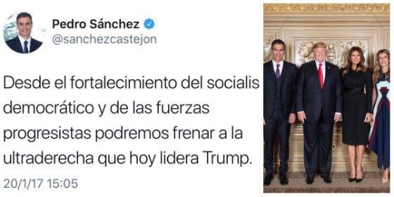 Twitter arrincona a Sánchez con una foto que destroza en pedazos su odio a Donald Trump