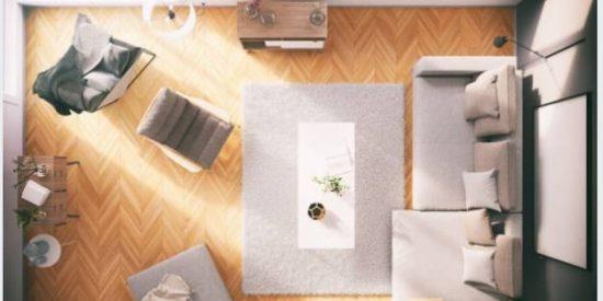 dónde coloca una alfombra en el salón
