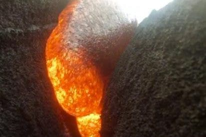 Una Go-Pro sumergida en lava sigue grabando su agonía