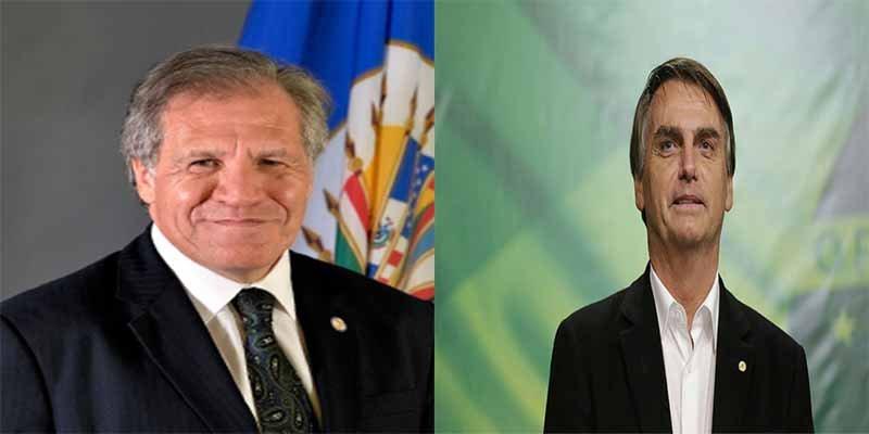 El presidente de la OEA Luis Almagro felicitó a Jair Bolsonaro por su victoria en Brasil