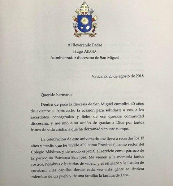 Francisco dirigió una carta a su antigua diócesis de San Miguel