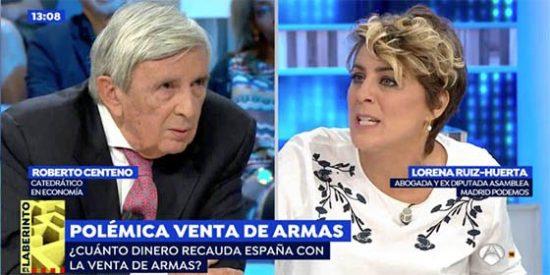 """El economista Centeno y la expodemita Ruiz-Huerta, a navajazos por la venta de armas: """"¡No me hagas reír!"""", """"¡provocador!"""""""