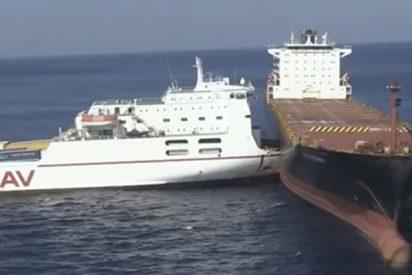 Mira lo que pasa cuando un barco de 5.000 toneladas se empotra contra otro de 66.000 toneladas