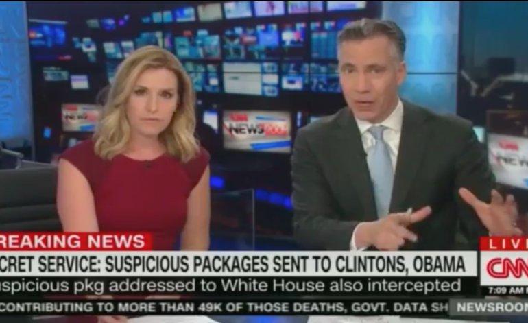 El momento exacto cuando CNN corta su transmisión en vivo por el envío de una bomba