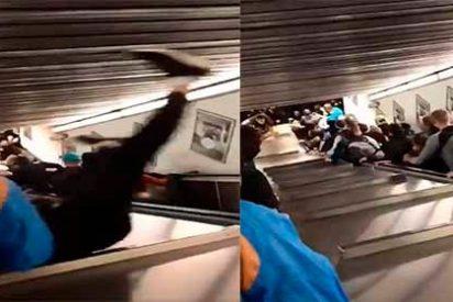 Vídeo aterrador: colapsan las escaleras mecánicas del metro de Roma hiriendo a decenas de fans del CSKA