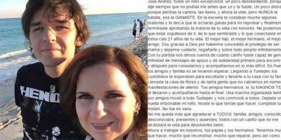 México: La emotiva despedida en Facebook de una madre a su hijo asesinado por sus compañeros de clase