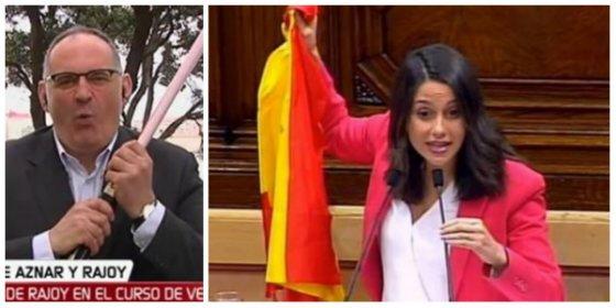La última payasada de Antón Losada: criticar a Arrimadas por dar en el morro a los golpistas con la bandera española