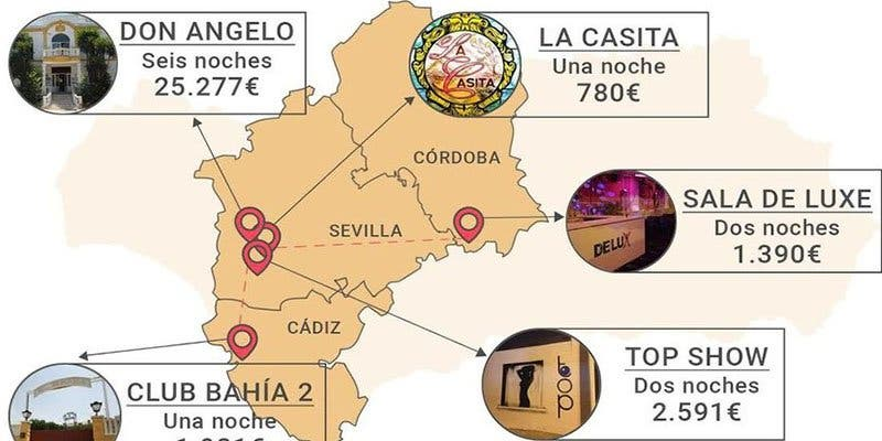 'La Ruta de las Putas': Así son los 5 puticlubs donde fornicaban altos cargos de la Junta de Andalucía con dinero de los parados