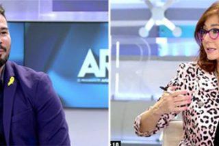 """Ana Rosa le borra la sonrisa bobalicona al bufón independentista Rufián: """"Tú que estás en el Parlamento, si quieres referéndum, cambia la Constitución"""""""
