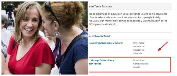 Otra mentira de Tania Sánchez: acaba de aprobar ahora un máster con el que infló su currículo durante años