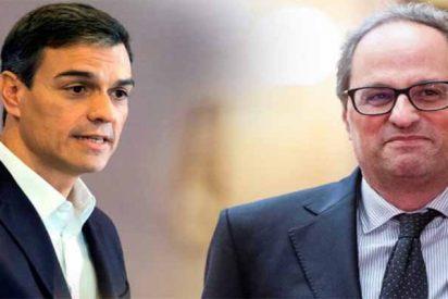 El xenófobo Torra y los matones del independentismo catalán se abrazan al socialista Sánchez