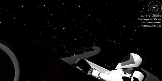 El descapotable rojo de Elon Musk se dirige hacia la Tierra