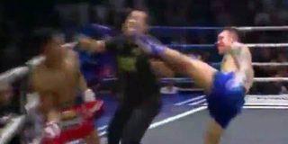 Este luchador de muay thai noquea a la vez a su rival y al árbitro