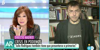 Espectacular chorreo de Ana Rosa a Monedero por el mamoneo con el rey de los descalabros en Podemos
