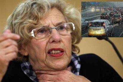 La incompetente Carmena desbordada otra vez por el tráfico y ahogada por la lluvia en Madrid