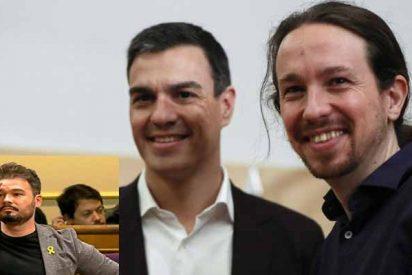 'Coletas' Iglesias y 'Zoquete' Rufián ponen fecha de caducidad a 'Okupa' Sánchez