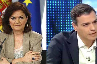 """¿Se chuta la vice Calvo?: """"El presidente nunca ha dicho que ha visto rebelión en Cataluña"""""""