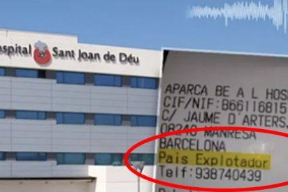 Este parking de un hospital de Barcelona cambia la palabra 'España' por 'país explotador' en sus tickets
