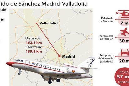 El 'okupa' Sánchez moviliza dos aeronaves para ahorrarse 8 minutos en su viaje de Madrid a Valladolid