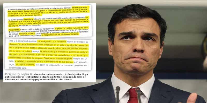 El socialista Sánchez plagió su tesis y repetirá estafa con España