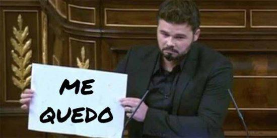 El zoquete Rufián ha cobrado 150.000 € del Congreso español desde la fecha que prometió dejar el escaño