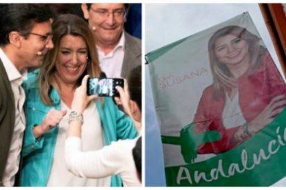 La espeluznante pesadilla de Susana Díaz: esconde el logo del PSOE y reduce a dos mítines la presencia de Sánchez