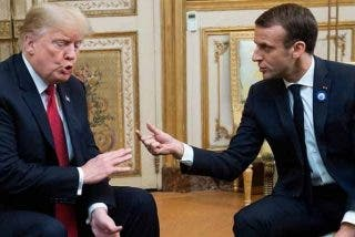 El americano Trump y el francés Macron se enfrentan en su reunión sobre la defensa de Occidente