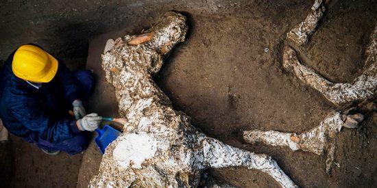 El caballo petrificado y con adornos en un establo de Pompeya