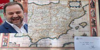 El ministro Ábalos felicita la Navidad al alcalde de Tenerife con un mapa en el que no aparece Canarias